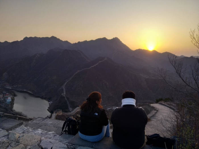 surise at Great Wall of China