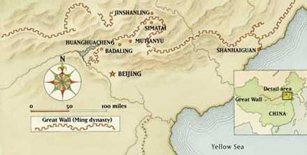 Great Wall Of China Map View.Four Day Great Wall Trekking With Camping Adventure Tours Of The