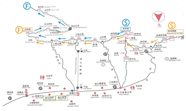 Jinshanling map and Jinshanling hike